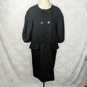 Max Azria Tex Black Double Breasted Long Coat
